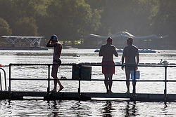 © Licensed to London News Pictures. 20/08/2020. London, UK. Calm after the storm. Swimmers in the Serpentine in Hyde Park enjoy the warm sunshine this morning with highs of 25c expected for London and the South East, a day after the UK was battered by Storm Ellen which saw heavy downfalls and high winds. However, weather forecasters have predicted high winds for tomorrow as the UK continues to feel the force of the Atlantic storm. Photo credit: Alex Lentati/LNP