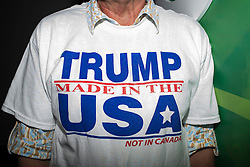 Feb. 12, 2016 - Florida, U.S. - MARETTA TRANI, of Naples, shows off her t-shirt during a rally for Republican Presidential Candidate Donald Trump at the University of South Florida Sun Dome. (Credit Image: © Zack Wittman/Tampa Bay Times via ZUMA Wire)