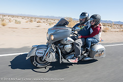 Jason Sims, the director of the 2016 Motorcycle Cannonball, with his wife Lee Ann during the Motorcycle Cannonball Race of the Century. Stage-14 ride from Lake Havasu CIty, AZ to Palm Desert, CA. USA. Saturday September 24, 2016. Photography ©2016 Michael Lichter.