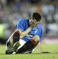 Fotball<br /> Kvalifisering til UEFA Champions League<br /> 25.08.2004<br /> Foto: SBI/Digitalsport<br /> NORWAY ONLY<br /> <br /> Glasgow Rangers v CSKA Moskva<br /> <br /> Rangers Steven Thompson cat believe his team have not qualified for the next round