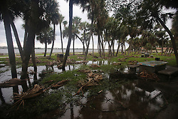 October 7, 2016 - Florida, U.S. - Branches are down and some flooding is visible in Lake Worth's South Bryant Park early Friday, October 7, 2016. (Credit Image: © Bruce R. Bennett/The Palm Beach Post via ZUMA Wire)