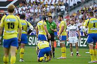 carton jaune Julien BARDY / Pascal GAUZERE  - 13.06.2015 - Clermont / Stade Francais - Finale Top 14<br />Photo : Nolwenn Le Gouic / Icon Sport