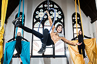 No repro fee<br /> 22-5-18<br /> Leap Into Action – Apply Now: Picture shows actor and writer Stefanie Preissner ,with Áine Mahon (left) and Kate Dunne (right) from Aerial Cirque who today launched the 2018 Coca-Cola Thank You Fund, calling on youth-oriented non-profits and community groups to leap into action and apply for funding. Coca-Cola will award a total of €100,000 to youth-oriented non-profit organisations making a difference to their communities. Grants will be awarded in €5,000, €10,000 and €30,000 amounts and applications will be accepted until 13th July. This year the Fund aims to bridge the divide between education and the workplace, encourage diversity and inclusion, empower young people to become leaders of the future and welcomes innovative approaches to sustainability. Apply today at: www.coca-cola.ie/thankyou Pic:Naoise Culhane-no fee
