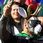 A South African fan during the South Africa V Australia Quarter Final match at the IRB Rugby World Cup tournament. Wellington Regional Stadium, Wellington, New Zealand, 9th October 2011. Photo Tim Clayton...