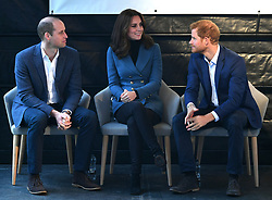 The Duke and Duchess of Cambridge and Prince Harry attend the graduation ceremony for more than 150 Coach Core apprentices at The London Stadium, London, UK, on the 18th October 2017. 18 Oct 2017 Pictured: Prince William, Duke of Cambridge, Catherine, Duchess of Cambridge, Kate Middleton, Prince Harry. Photo credit: James Whatling / MEGA TheMegaAgency.com +1 888 505 6342