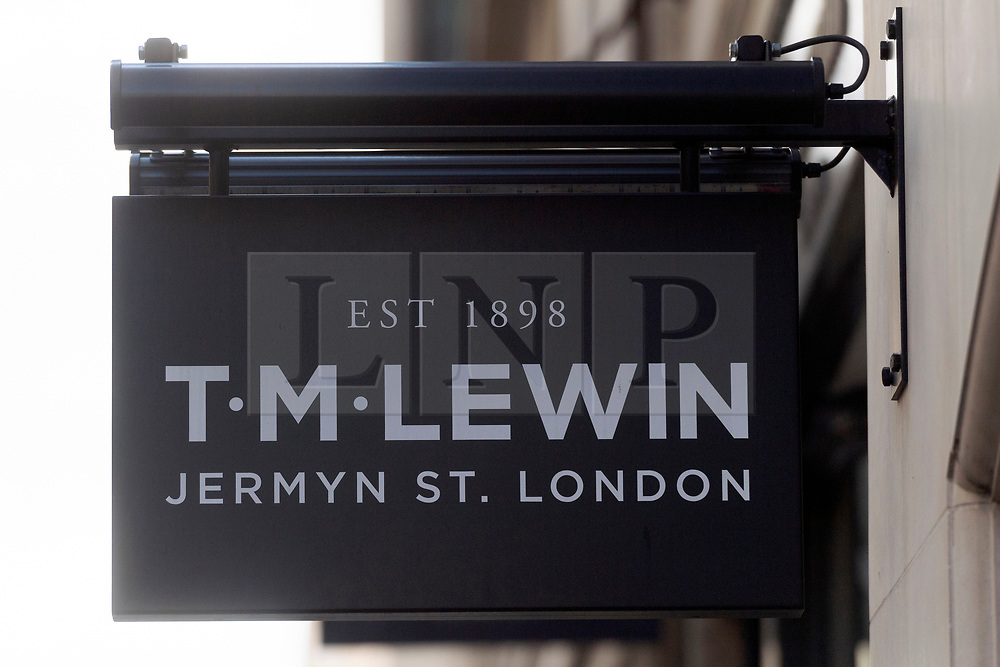 © Licensed to London News Pictures. 01/07/2020. London, UK. A view of TM Lewin shirtmakers flagship store in  Jermyn Street. About 600 workers will lose their jobs after shirtmaker TM Lewin announced it will close all 66 of its UK shops due to the coronavirus pandemic. The firm said most of its 700 workers will be laid off and will focus with <br /> on-line sales. Photo credit: Ray Tang/LNP