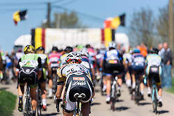 Hanging on Maria Sperotto (Servetto Footon) - Flèche Wallonne Femmes - a 137km road race from starting and finishing in Huy on April 20, 2016 in Liege, Belgium.