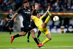 Chelsea's Pedro (right) and Eintracht Frankfurt's Simon Falette battle for the ball during the UEFA Europa League Semi final, first leg match at The Frankfurt Stadion, Frankfurt.