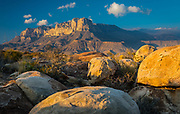 "El Capitan is a peak in Culberson County, Texas, United States, within Guadalupe Mountains National Park. It is the eighth highest peak in Texas, and rises abruptly out of the Chihuahuan Desert floor; it is considered the ""signature peak"" of West Texas."