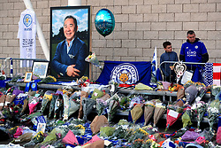 Supporters pay tribute at Leicester City Football Club. Leicester Chairman, Vichai Srivaddhanaprabha, was among those to have tragically lost their lives on Saturday evening when a helicopter carrying him and four other people crashed outside King Power Stadium.