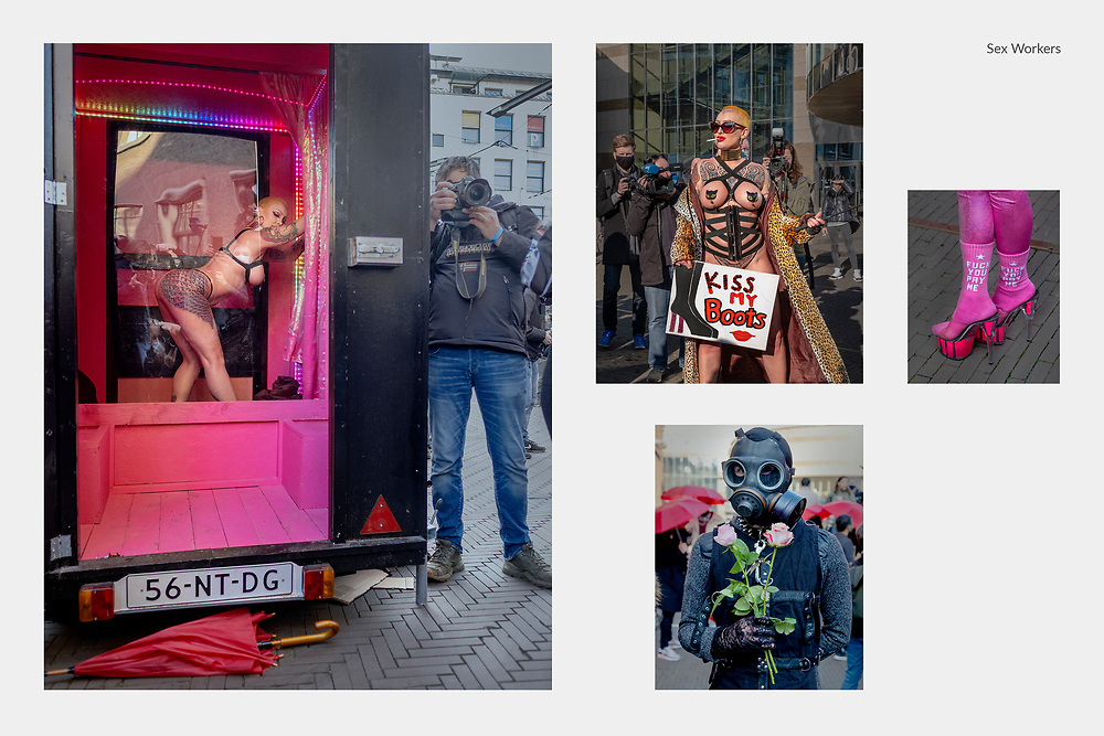 Netherlands. Den Haag, 02-03-2021. Photo: Patrick Post. Sex Werkers demonstreren op de Hofplaats naast de Tweede Kamer om te laten weten dat ze weer aan het werk willen gaan.