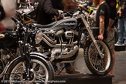 Jeremy Cupp's SX-1250 Harley-Davidson with lots of custom carbon fiber made by Jeremy (he learned how to work with it just for this bike) at the Handbuilt Show. Austin, TX. USA. Sunday April 22, 2018. Photography ©2018 Michael Lichter.