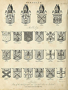 Bishops Heraldry is a discipline relating to the design, display and study of armorial bearings (known as armory), as well as related disciplines, such as vexillology, together with the study of ceremony, rank and pedigree. Armory, the best-known branch of heraldry, concerns the design and transmission of the heraldic achievement. The achievement, or armorial bearings usually includes a coat of arms on a shield, helmet and crest, together with any accompanying devices, such as supporters, badges, heraldic banners and mottoes. Copperplate engraving From the Encyclopaedia Londinensis or, Universal dictionary of arts, sciences, and literature; Volume IX;  Edited by Wilkes, John. Published in London in 1811