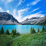 Bow Lake, Bow Glacier, Crowfoot Mountains, Mount Thompson