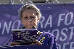 March 23, 2019 - Barcelona, Catalonia, Spain - A popular actress Carmen Sansa is seen reading the manifesto of Mujeres por la República  (women for the republic) during the event..Summoned by Crida a les dones republicanes (Call to the republican of women) about 300 people have attended the act in tribute to the independentistas women who serve prison sentences, reprisals or in exile. (Credit Image: © Paco Freire/SOPA Images via ZUMA Wire)