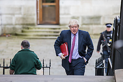 © Licensed to London News Pictures. 07/03/2017. London, UK. Foreign Secretary Boris Johnson on Downing Street. The government is set to deliver the budget tomorrow, Wednesday 8 March 2017. Photo credit: Rob Pinney/LNP