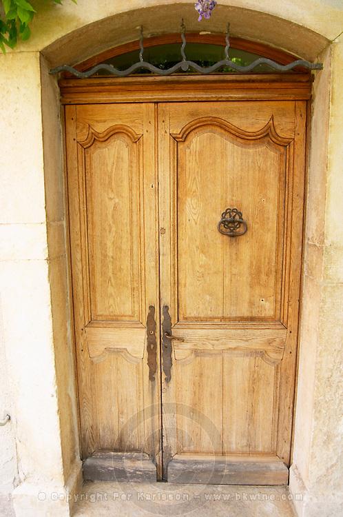 Chateau de Lascaux, Vacquieres village. Pic St Loup. Languedoc. A door. France. Europe.