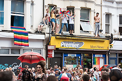 August 6, 2017 - Brighton, East Sussex, UK - Brighton, UK. Brighton & Hove Pride, East Sussex.  Crowd enjoying the annual outdoor event, the biggest, and boldest Pride celebration in the UK. (Credit Image: © Andy Sturmey/London News Pictures via ZUMA Wire)