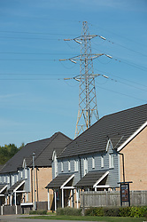 Electricity pylons near houses, Wath upon Dearne, Rotherham, South Yorkshire