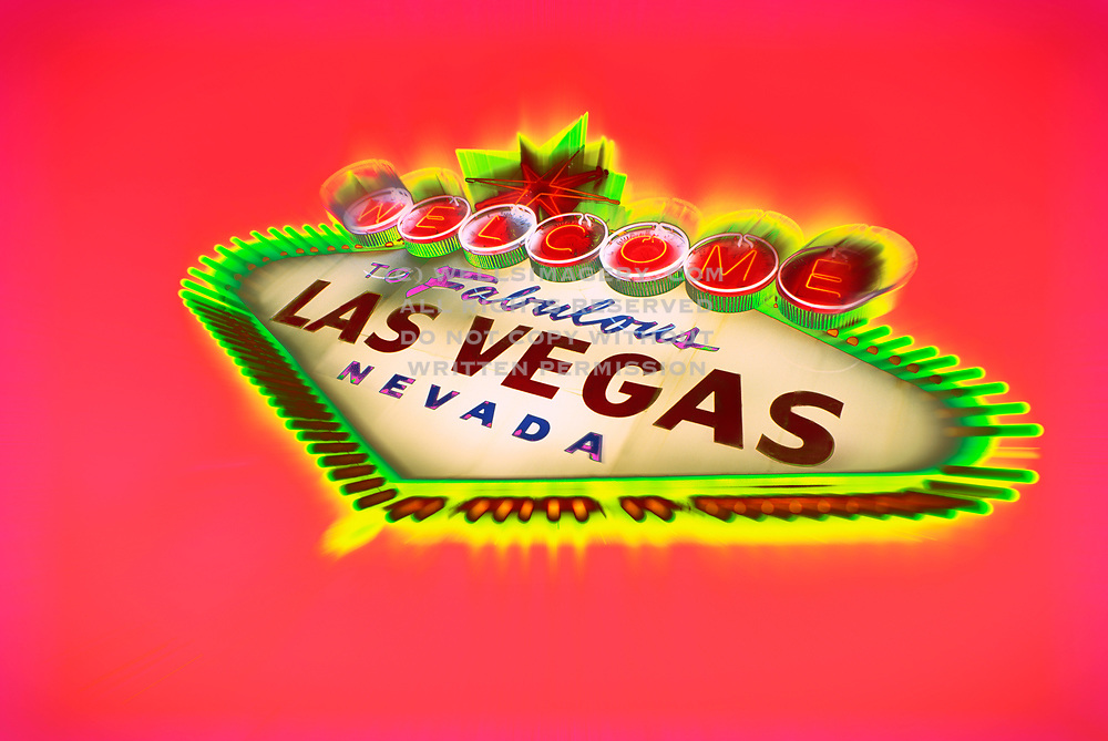 Illuminated Welcome to Fabulous Las Vegas sign welcoming visitors to casinos along the Strip, Las Vegas, Nevada, American Southwest (photo-illustration) by Randy Wells
