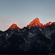 Grand Teton Mountain Range during sunrise.