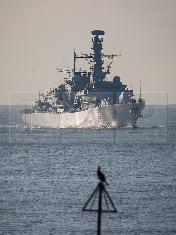 © Licensed to London News Pictures. 05/10/2016. Portsmouth, Hampshire, UK.  A cormorant sitting on a navigation mark as the Type 23 Frigate, HMS Richmond (F239), returning to her home port of Portsmouth this morning, following a trip to Den Helder in The Netherlands. The warship is believed to have been conducting routine training. Photo credit: Rob Arnold/LNP