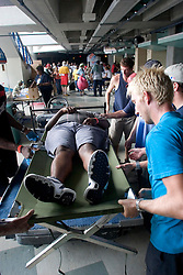 31st August, 2005. New Orleans, Louisiana.<br /> 'Hell on earth.' Saved from the Superdome in New Orleans, Louisiana where over 20,000 refugees from hurricane Katrina are crammed into hellish conditions, a medical evacuees is prepped for departure from the New Orleans Arena across the road from the Superdome.<br /> Photo Credit: Charlie Varley/varleypix.com