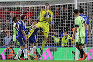 Goalkeeper Thibaut Courtois of Chelsea in action. The Emirates FA Cup, 5th round match, Chelsea v Manchester city at Stamford Bridge in London on Sunday 21st Feb 2016.<br /> pic by John Patrick Fletcher, Andrew Orchard sports photography.