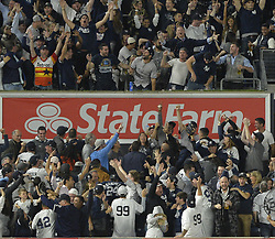 October 18, 2017 - Bronx, NY, USA - The New York Yankees' Gary Sanchez hits a solo home run in the seventh inning against the Houston Astros during Game 5 of the American League Championship Series at Yankee Stadium in New York on Wednesday, Oct. 18, 2017. The Yankees won, 5-0, for a 3-2 series lead. (Credit Image: © Howard Simmons/TNS via ZUMA Wire)