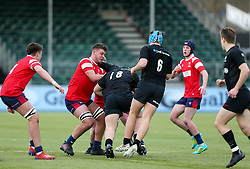 Charlie Rice of Bristol Bears U18 puts in a tackle on Zack Hill of Saracens U18 - Mandatory by-line: Arron Gent/JMP - 12/01/2020 - RUGBY - Allianz Park - London, England - Saracens U18 v Bristol Bears U18 - Premiership U18 Academy