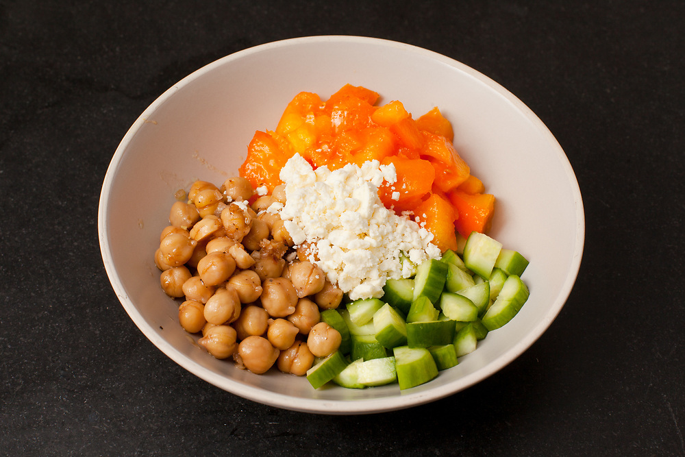 Tomato, Cucumber, Chickpea and Feta Salad from the fridge (m€) - COVID-19 Social Distancing in RI