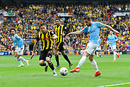 Bernardo Silva (20) of Manchester City shoots at goal during the The FA Cup Final match between Manchester City and Watford at Wembley Stadium, London, England on 18 May 2019.