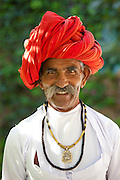Indian man with traditional Rajasthani turban in Narlai village in Rajasthan, Northern India. MODEL RELEASED