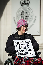 © Licensed to London News Pictures. 29/02/2016. London, UK.  Campaigner CLAIRE GASMAN joins other Campaigner outside the Supreme Court in London where Justices are due to hear appeals against the under occupancy subsidy, also known as the bedroom tax.  Campaigners believe the reduction in benefits for people in a housing association property that has one or more spare bedrooms, is having a devastating impact on vulnerable people.  Photo credit: Ben Cawthra/LNP