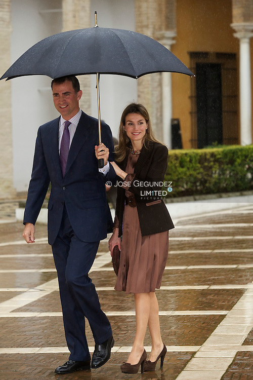 Prince Felipe and Princess Letizia attend the presentation of the Prince of Girona in Andalusia at the Reales Alcazares in Seville