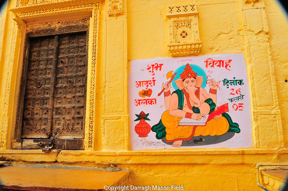 Dorrway with a painting of Ganish in the Jaisalmer fort
