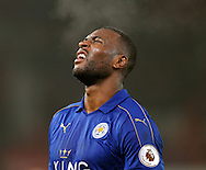 Wes Morgan of Leicester City shows signs of his efforts on the final whistle during the English Premier League match at the Bet 365 Stadium, Stoke on Trent. Picture date: December 17th, 2016. Pic Simon Bellis/Sportimage