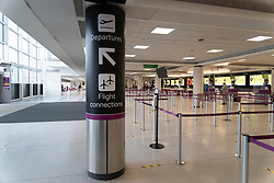 Edinburgh, Scotland, UK. 15 Feb 2021. From today Scottish Government requires all passengers from overseas arriving at Scottish airports to go into a mandatory quarantine in a hotel. Pic;   Check-in areas remain deserted in the terminal. Iain Masterton/Alamy Live news