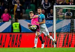 Chris Martin of Scotland vs Bostjan Cesar of Slovenia during football match between National Teams of Slovenia and Scotland of Fifa 2018 World Cup European qualifiers, on October 8, 2017 in SRC Stozice, Ljubljana, Slovenia. Photo by Vid Ponikvar / Sportida
