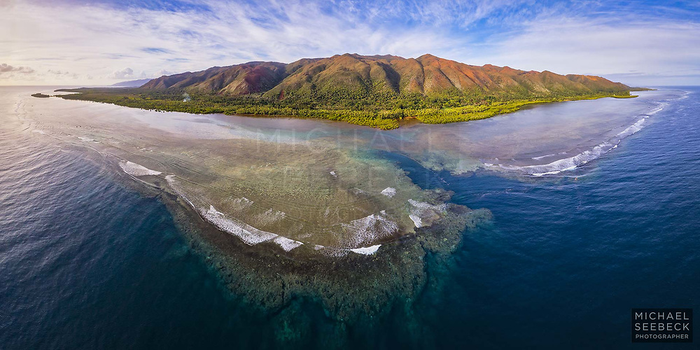 An aerial panoramic photograph of a section of fringing coral reef surrounding the Grand Terre of New Caledonia.<br /> <br /> Code: BPCS0001<br /> <br /> Limited Edition of 125