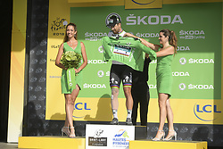 July 25, 2018 - Bagneres De Luchon, FRANCE - Slovak Peter Sagan of Bora-Hansgrohe, wearing the green jersey of the points leader and with a bandaged leg after falling,  celebrates on the podium after the 16th stage of the 105th edition of the Tour de France cycling race, 218km from Carcassone to Bagneres-de-Luchon, France, Tuesday 24 July 2018. This year's Tour de France takes place from July 7th to July 29th...BELGA PHOTO YORICK JANSENS - FRANCE OUT (Credit Image: © Yorick Jansens/Belga via ZUMA Press)