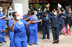 South Africa - Pretoria - 25 August 2020 - Members of the Methodist Church was outside Mediclinic Medforum for their change from night to day shift, to show their appreciation for hospital staff during the carona pandemic.<br />Photo: Jacques Naude/African News Agency (ANA)