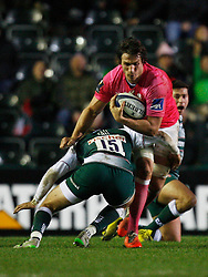 Sylvain Nicolas (R) of Stade Francais is tackled by Matthew Tait of Leicester Tigers - Mandatory byline: Jack Phillips / JMP - 07966386802 - 13/11/15 - RUGBY - Welford Road, Leicester, Leicestershire - Leicester Tigers v Stade Francais - European Rugby Champions Cup Pool 4