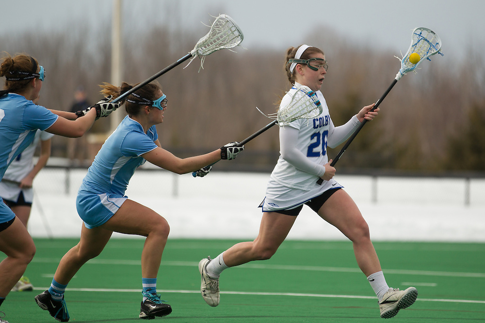 Caitlin Heaps of Colby College, during a NCAA Division III women's lacrosse game against at Tufts University on March 15, 2014 in Waterville, ME. (Dustin Satloff/Colby Athletics)