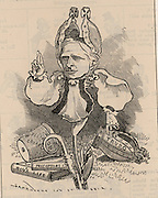 Edward White Benson (1829-1896) English churchman and schoolmaster. First headmaster of Wellington College, Berkshire (1859). First Bishop of Truro (1877-1883), Archbishop of Canterbury (1882-1896).   Cartoon by Edward Linley Sambourne in Punch's Fancy Portraits series from 'Punch' (London, 6 January 1883).