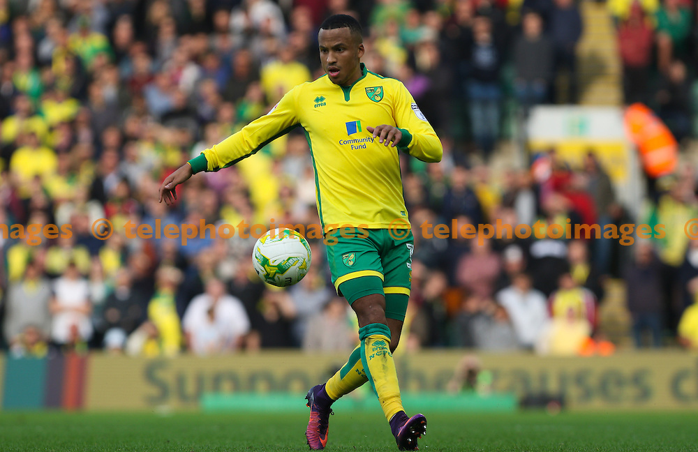 Martin Olsson of Norwich City during the Sky Bet Championship match between Norwich City and Rotherham United at Carrow Road in Norwich. October 15, 2016.<br /> Arron Gent / Telephoto Images<br /> +44 7967 642437