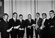19/09/1967<br /> 09/19/1967<br /> 19 September 1967<br /> Minister for Health Mr Sean Flanagan TD, presenting Diplomas in Health Inspection to newly qualified Health Inspectors at the Custom House, Dublin. Picture shows (l-r): Mr Patrick J. Farren, Donegal; Mr Frederick O'Brien, Limerick; Mr John T. Ryan, Westmeath; The Minister, Mr Flanegan TD; Mr Patrick Lynch, Cork; Mr James Clifton Byrne, Wicklow and Mr Colm F. Byrne, Dublin.
