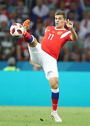 SOCHI, July 7, 2018  Roman Zobnin of Russia controls the ball during the 2018 FIFA World Cup quarter-final match between Russia and Croatia in Sochi, Russia, July 7, 2018. (Credit Image: © Wu Zhuang/Xinhua via ZUMA Wire)