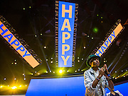 Corporate photography of Pharrell Williams as he performs during the 2014 annual Wal-Mart Shareholder's Meeting in Fayetteville, Ark., for Wal-Mart Stores Inc.