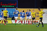 Carlisle players celebrate own goal by Oxford United striker Che Dunkley during the Sky Bet League 2 match between Oxford United and Carlisle United at the Kassam Stadium, Oxford, England on 12 December 2015. Photo by Alan Franklin.